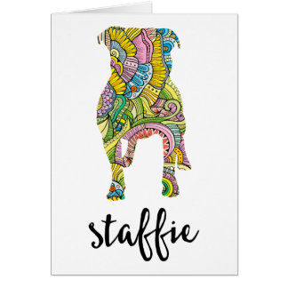 Staffordshire Terrier Floral Pattern Silhouette Card