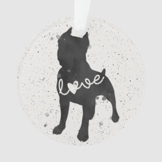 Staffordshire Terrier Love Watercolor Silhouette