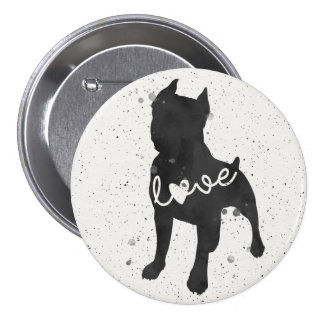 Staffordshire Terrier Love Watercolor Silhouette 7.5 Cm Round Badge