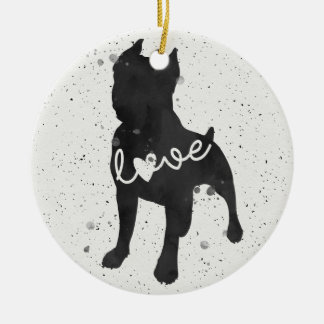 Staffordshire Terrier Love Watercolor Silhouette Round Ceramic Decoration