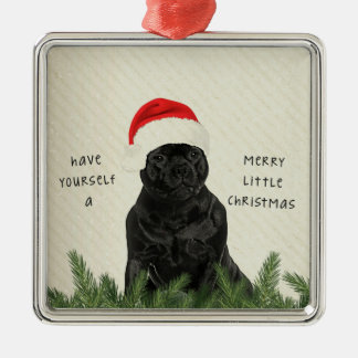 Staffordshire Terrier Merry Little Christmas Silver-Colored Square Decoration