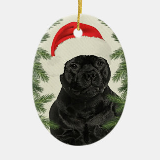 Staffordshire Terrier Vintage Style Christmas Ceramic Oval Decoration