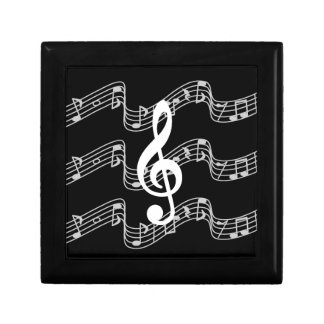Staffs and Treble Clef on Black Small Square Gift Box