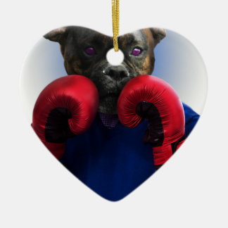 Staffy Dog Boxer Fun Animal Ceramic Heart Decoration