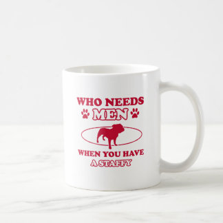Staffy dog breed designs basic white mug