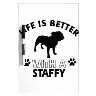 Staffy dog breed designs Dry-Erase whiteboard