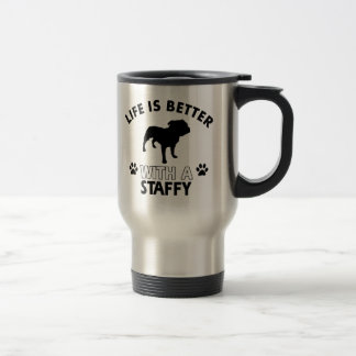 Staffy dog breed designs travel mug