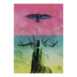 Stag and Eagle in colour Poster