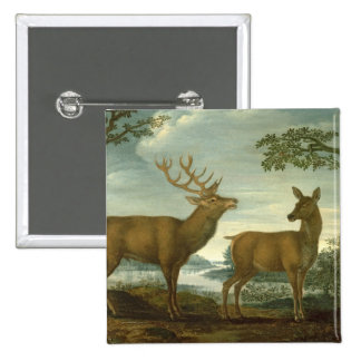 Stag and hind in a wooded landscape 15 cm square badge