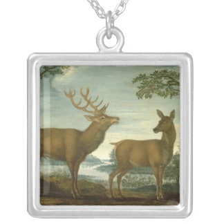 Stag and hind in a wooded landscape silver plated necklace