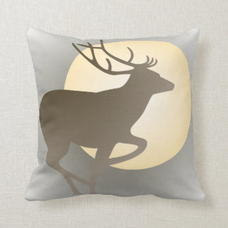 Stag and Moon Throw Pillow