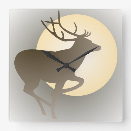 Stag and Moon Wall Clock