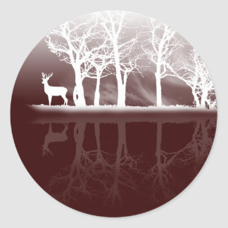 Stag At Dusk Classic Round Sticker
