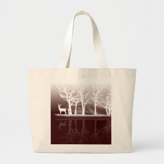 Stag At Dusk Large Tote Bag