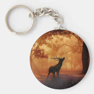 Stag at Sunset Basic Round Button Key Ring