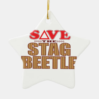 Stag Beetle Save Christmas Ornament