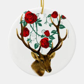 Stag Deer Antlers Roses Vines Vintage Christmas Christmas Ornament