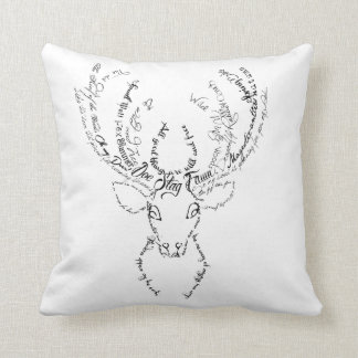 Stag Deer antlers typography words silhouette Throw Pillow