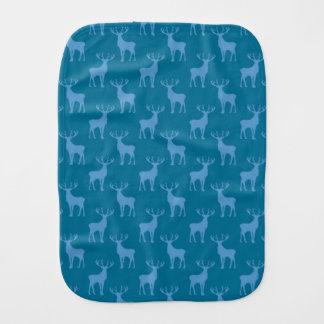 Stag Deer Pattern in Blue Baby Burp Cloth