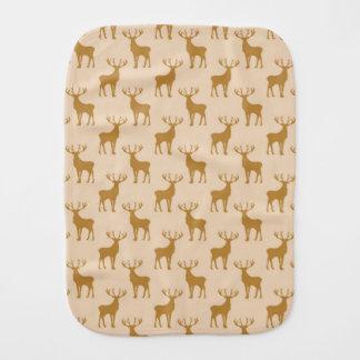 Stag Deer Pattern in Browns Baby Burp Cloths