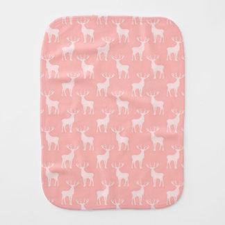 Stag Deer Pattern in Soft Pink Baby Burp Cloths