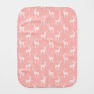 Stag Deer Pattern in Soft Pink Burp Cloth