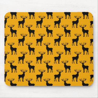 Stag Deer Pattern on Bright Yellow Mouse Pad