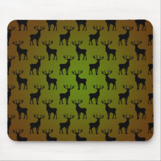 Stag Deer Pattern On Green Brown Mouse Pad