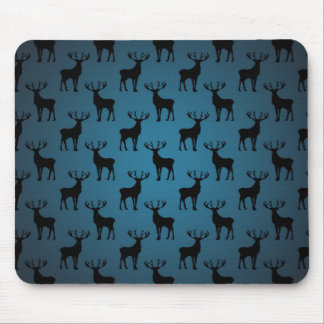 Stag Deer Silhouette on Blue Mouse Pads