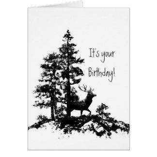 Stag Deer Tree Forest Animal Masculine Birthday Card