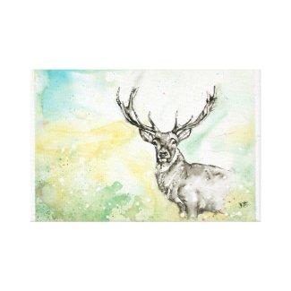 Stag/Deer Watercolor Illustration Canvas Print