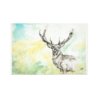 Stag/Deer Watercolor Illustration Canvas Print