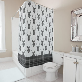 Stag Head And Grey Tartan Pattern Rustic Shower Curtain