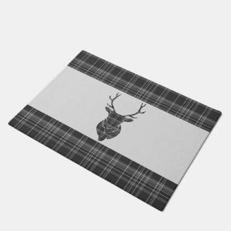 Stag Head Antler Rustic Grey Tartan Pattern Doormat
