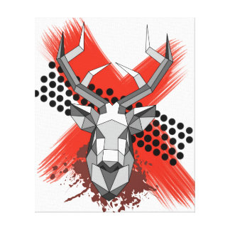 Stag head geometric canvas print