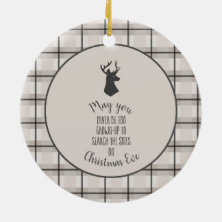 Stag Head on Beige and Black Plaid Christmas Ornament