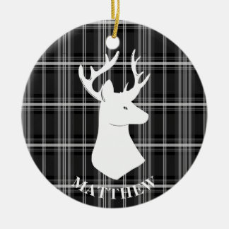 Stag Head on Black and White Plaid Christmas Ornament