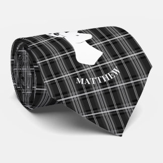 Stag Head on Black and White Plaid Tie
