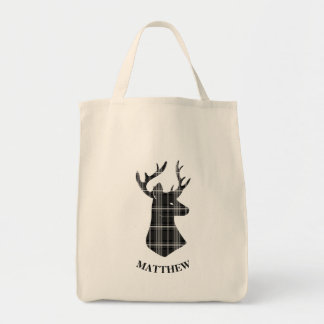 Stag Head on Black and White Plaid Tote Bag