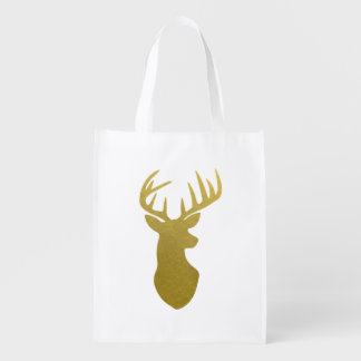 Stag Head Silhouette Reusable Grocery Bag
