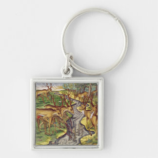 Stag Hunt, from 'Brevis Narratio' Key Ring