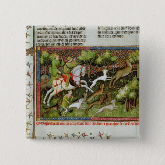Stag Hunting, from the Livre de la Chasse 15 Cm Square Badge