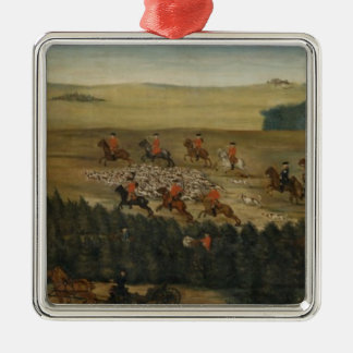 Stag-hunting with Frederick William I of Prussia Silver-Colored Square Decoration