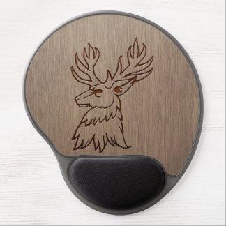 Stag illustration engraved on wood design gel mouse pad