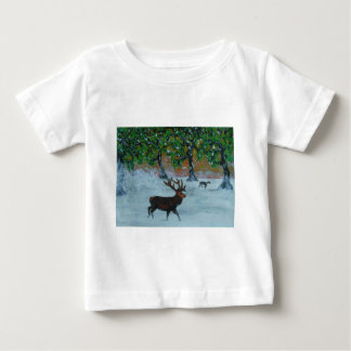 Stag in a snowy orchard baby T-Shirt