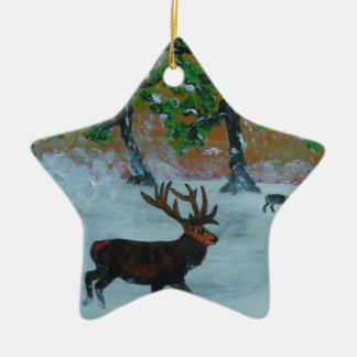 Stag in a snowy orchard christmas ornament