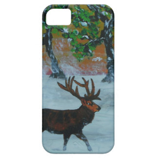 Stag in a snowy orchard iPhone 5 cases