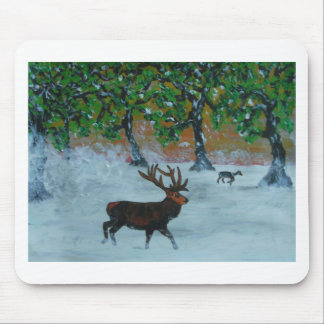 Stag in a snowy orchard mouse pad
