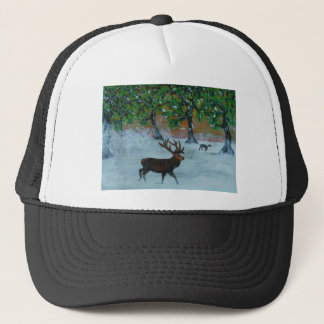 Stag in a snowy orchard trucker hat