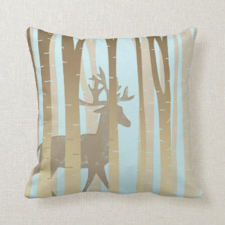 Stag In Birch Trees Cushion